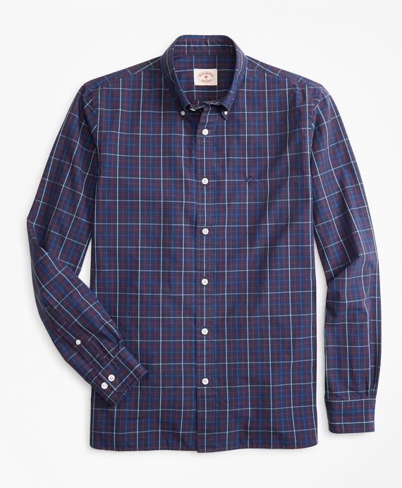 Windowpane Yarn-Dyed Cotton Poplin Sport Shirt Navy