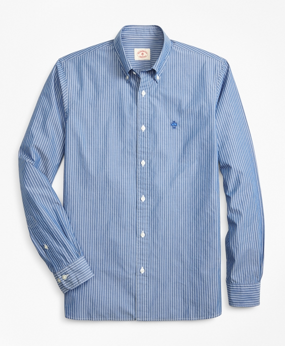 Striped Broadcloth Sport Shirt Blue