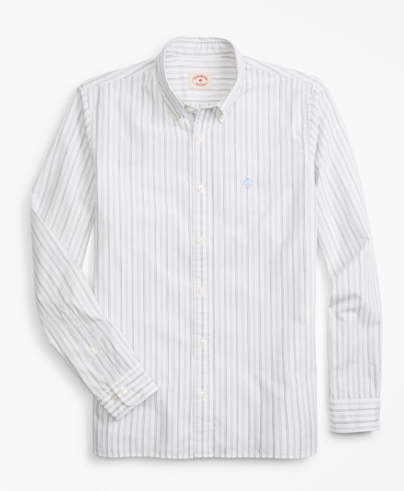 Striped Broadcloth Sport Shirt White