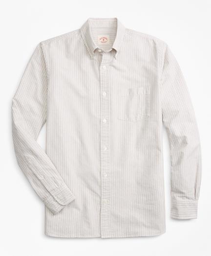 Alternating-Stripe Supima® Cotton Oxford Sport Shirt