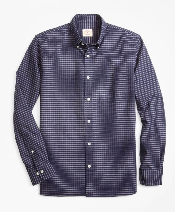Windowpane Cotton Oxford Sport Shirt Navy