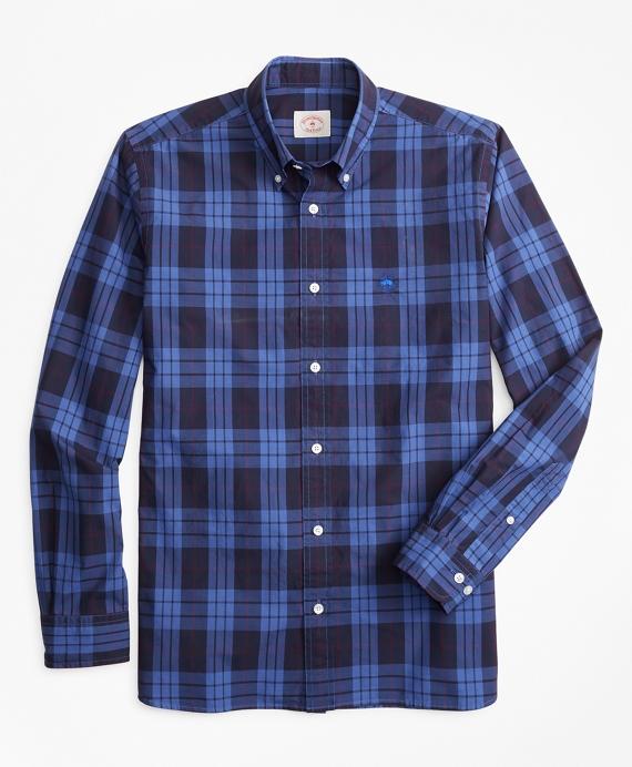 Plaid Garment-Dyed Cotton Sport Shirt Blue