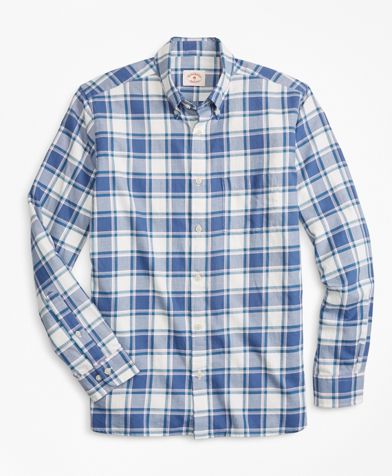 Plaid Summer Twill Sport Shirt Blue-Lavender