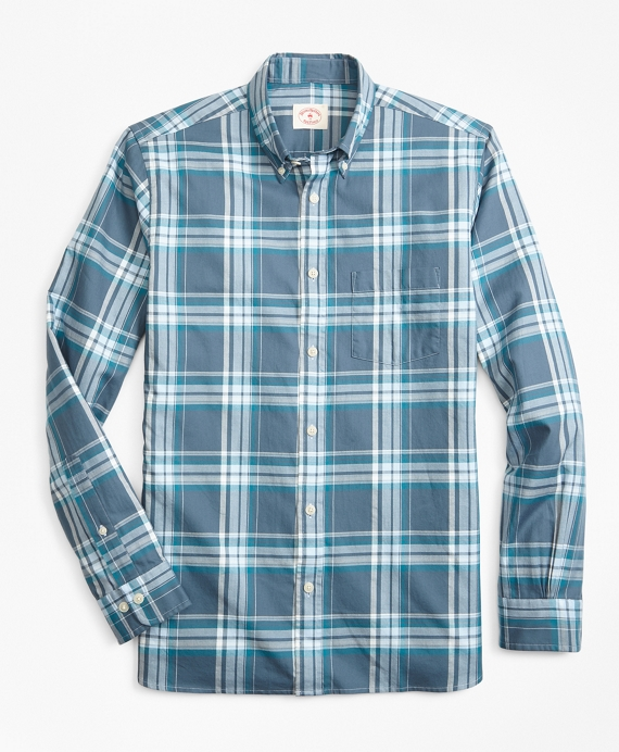 Plaid Summer Twill Sport Shirt Blue-Teal