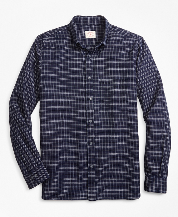 Indigo-Dyed Plaid Cotton Twill Sport Shirt Navy