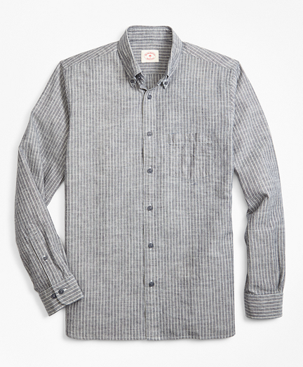 Indigo-Dyed Striped Denim Sport Shirt