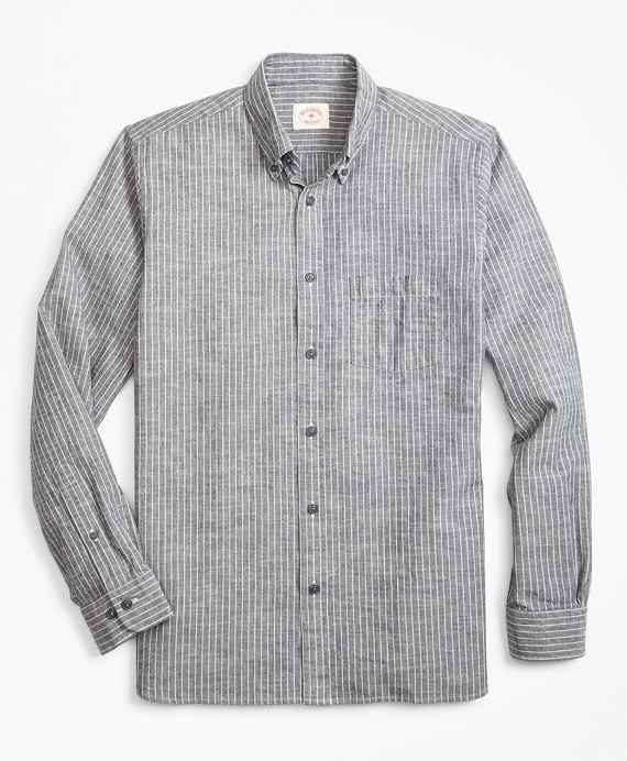 Indigo-Dyed Striped Denim Sport Shirt Navy