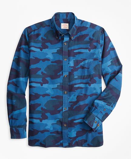 Indigo-Dyed Camo-Print Chambray Sport Shirt
