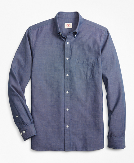 Indigo-Dyed End-on-End Dobby Sport Shirt