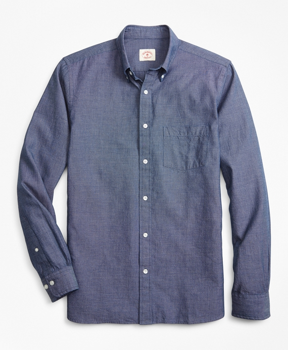Indigo-Dyed End-on-End Dobby Sport Shirt Navy