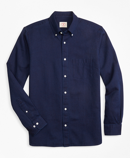 Indigo-Dyed Textured Dobby Sport Shirt