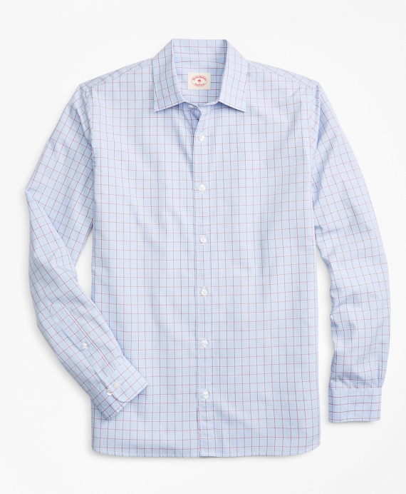 Windowpane Nine-to-Nine Cotton Poplin Shirt Blue