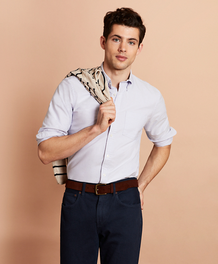 Solid Cotton Oxford Sport Shirt