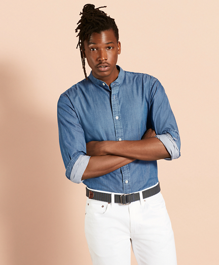 Indigo Chambray Band-Collar Sport Shirt