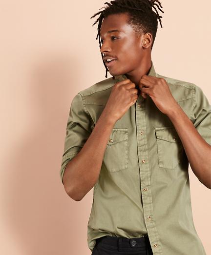 Garment-Dyed Twill Sport Shirt