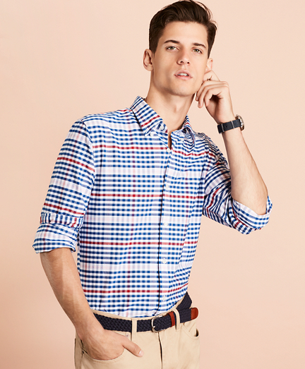 Gingham Patterned Cotton Oxford Sport Shirt