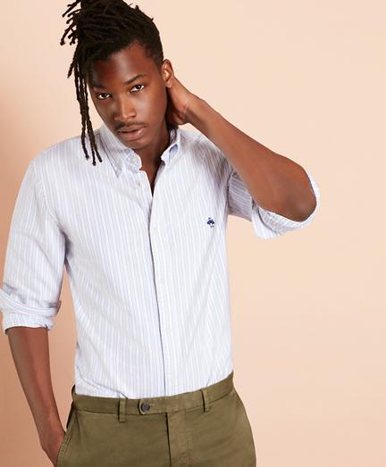 Multi-Stripe Cotton Oxford Sport Shirt