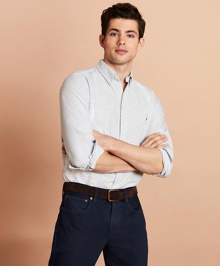 Windowpane Cotton Oxford Sport Shirt