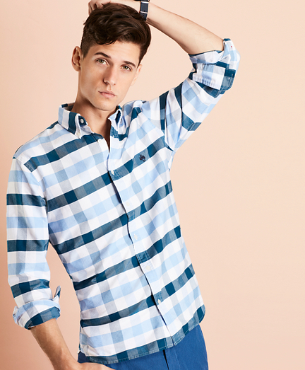 Wide-Gingham Cotton Oxford Sport Shirt