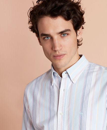 Awning Striped Cotton Oxford Sport Shirt