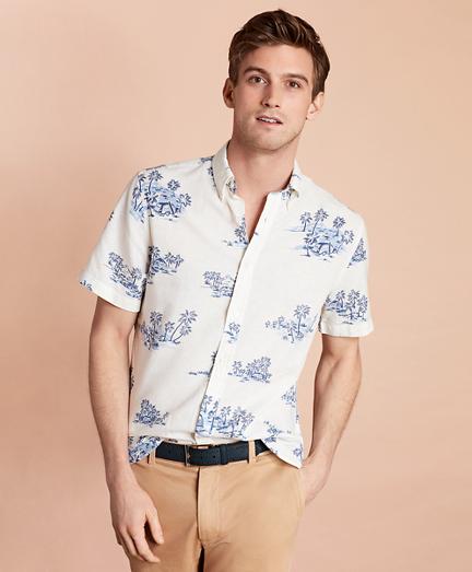 Tropical-Print Linen-Blend Short-Sleeve Sport Shirt