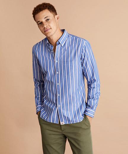 Alternating Stripe Cotton Broadcloth Shirt