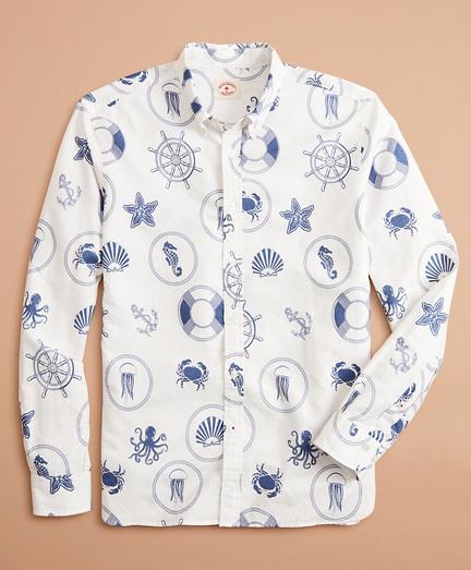Marine Print Linen-Cotton Shirt