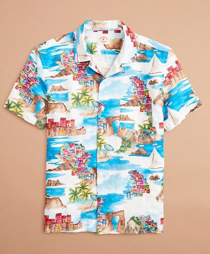 Coastal-Print Linen-Cotton Camp Collar Short-Sleeve Shirt