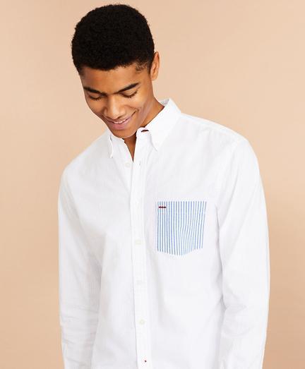Seersucker Striped-Pocket Shirt