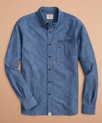 Indigo Red Fleece Printed Chambray Shirt