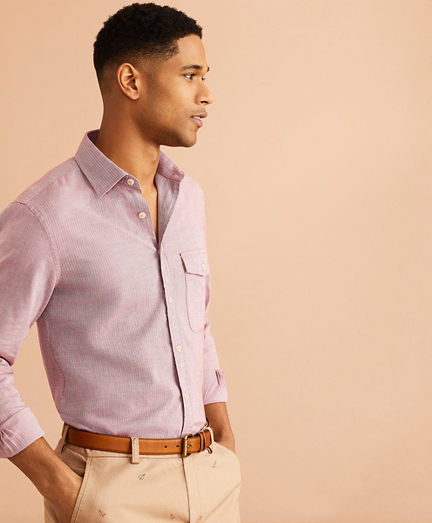 Brushed Herringbone Striped Cotton Shirt