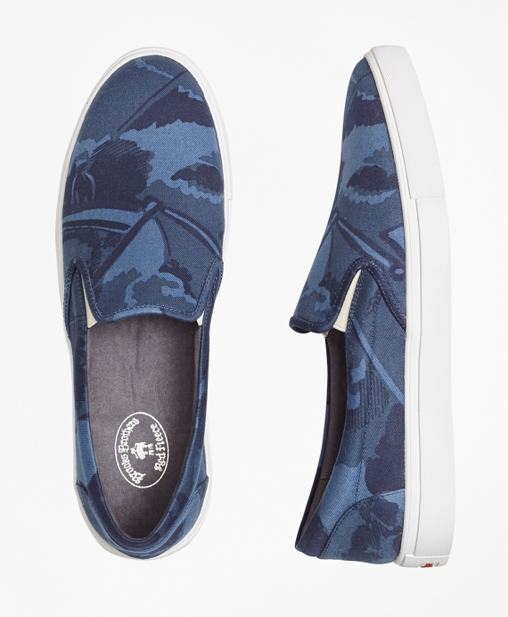 Camo-Print Canvas Slip-On Sneakers Navy