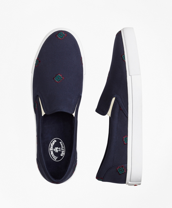 Medallion-Embroidered Slip-On Sneakers
