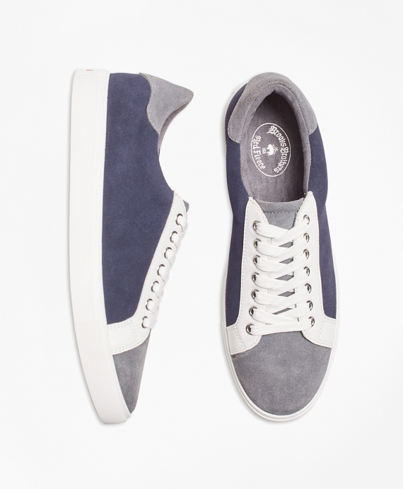 Color-Block Suede Sneakers Grey-Navy