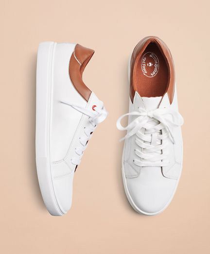 White Contrast Leather Sneakers