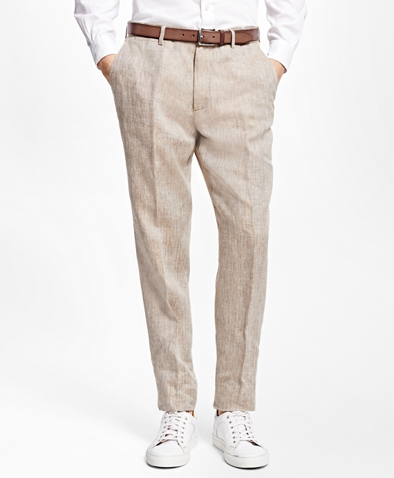 Herringbone Irish Linen Dress Trousers Brown