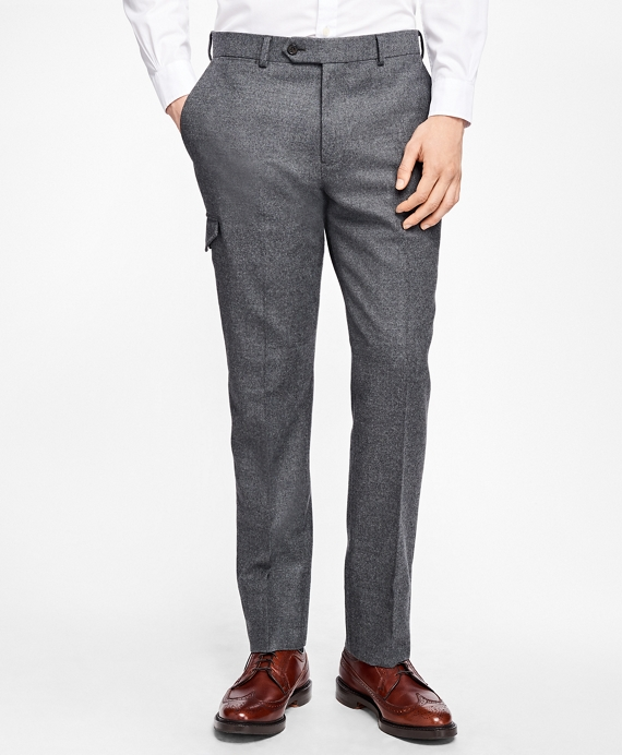 Stretch-Wool Flannel Dress Trousers Grey