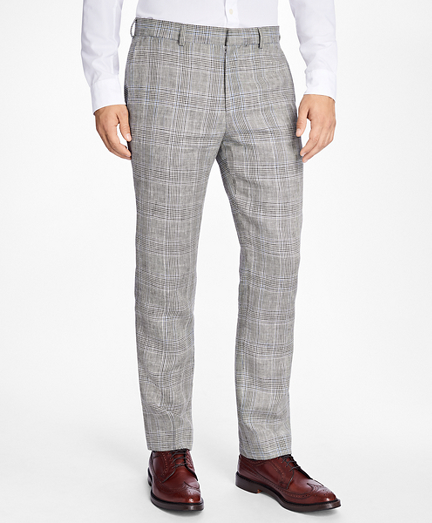 Slim-Fit Plaid-Houndstooth Linen Trousers