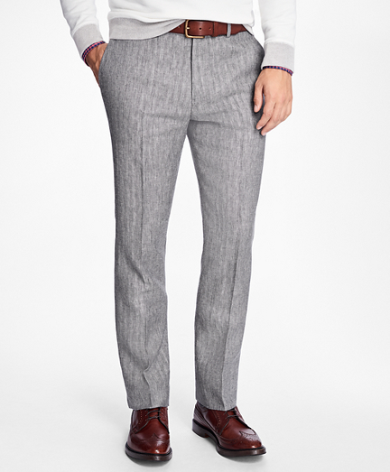 Slim-Fit Herringbone Linen Trousers