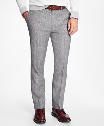 Slim-Fit Herringbone Linen Trousers