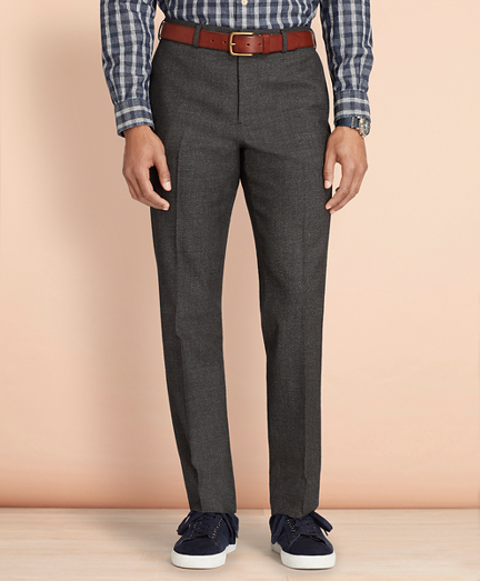 Tick-Weave Wool-Cotton Trousers