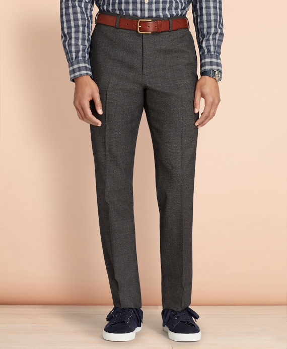 Tick-Weave Wool-Cotton Trousers