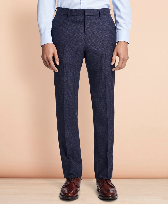Checked Wool Trousers Navy-Red