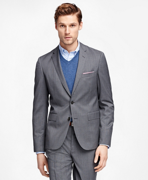 Micro Check Suit Jacket Grey