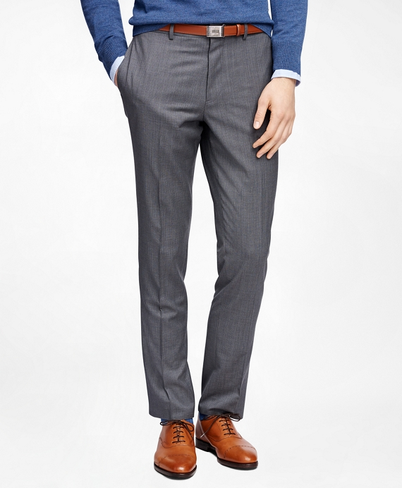 Men's Grey Micro-Check Suit Pants | Brooks Brothers