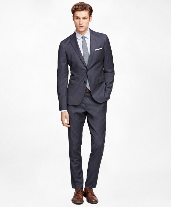 Men's Blue-Brown Mini Check Suit Jacket | Brooks Brothers