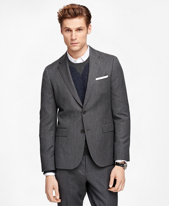 Herringbone Suit Jacket Charcoal