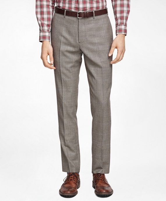 Plaid with Deco Suit Trousers Brown