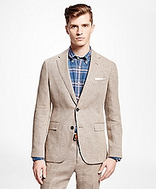 Brown Tic Linen Suit Jacket