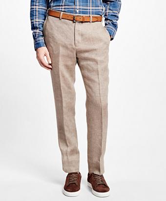 Brown Tic Linen Suit Trousers